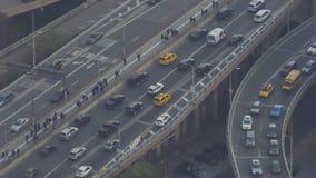 Rush hour in Brooklyn Bridge entrance. New York City