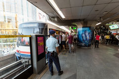 Rush hour at BTS public train Siam Station in Bangkok Stock Photography