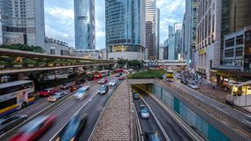 Rush hour at business center of Hong Kong stock footage