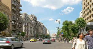 Rush Hour On Gheorghe Magheru Boulevard Of Bucharest. BUCHAREST, ROMANIA - JUNE 15, 2016: Rush Hour On Gheorghe Magheru Boulevard Of Bucharest, One Of The Most stock video footage