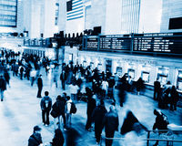 Rush hour at Grand Central station. Blue toned Stock Photos