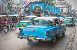 Rush Hour, Havana. A street scene in Havana, Cuba showing a number of old american cars Stock Photography