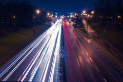 Rush hour on a highway in big city Stock Photo