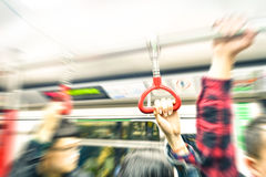 Rush hour in Hong Kong underground subway Royalty Free Stock Photography