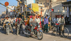 Rush hour in India. Heavy traffic during morning rush hours in Bikaner, Rajasthan, India Royalty Free Stock Photos