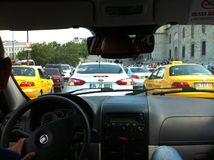 Rush hour congestion in Istanbul. Seen from within a taxi Royalty Free Stock Images