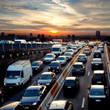 Rush hour in the late afternoon. Traffic. Stock Photos