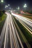 Rush hour lights at night. Car streak lights in kuwait Stock Photos