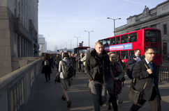 Rush hour on London Bridge Royalty Free Stock Photos