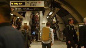 Rush hour in London Bridge underground station escalator. London, UK. Rush hour in London Bridge underground station escalator. London, United Kingdom stock video