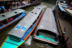 Rush hour in the morning. Rush hour of express boat at chao-pra-ya river Thailand Stock Photography