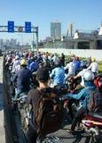 Rush hour, motorbike, traffic jam, Asian city Stock Photos