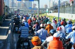 Rush hour, motorbike, traffic jam, Asian city Stock Photography