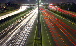 Rush hour at night. Streaks of light in kuwait Royalty Free Stock Photo