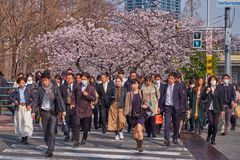 Rush hour in Osaka in Spring royalty free stock photography