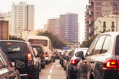 Rush hour. Rear view of cars in casablanca on a rush hour Stock Photos