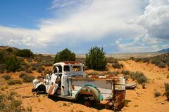 Rush Hour Remnant in the Desert. Old Ford Pick-up abandoned in the deserts at the north end of Lake Powell Royalty Free Stock Photography