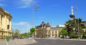 Rush Hour On Revolution Square Downtown Of Bucharest City. BUCHAREST, ROMANIA - APRIL 20, 2016: Rush Hour On Revolution Square Downtown Of Bucharest City stock footage