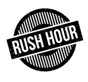Rush Hour rubber stamp. Grunge design with dust scratches. Effects can be easily removed for a clean, crisp look. Color is easily changed Stock Photo
