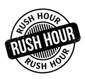 Rush Hour rubber stamp. Grunge design with dust scratches. Effects can be easily removed for a clean, crisp look. Color is easily changed Royalty Free Stock Images