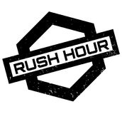 Rush Hour rubber stamp. Grunge design with dust scratches. Effects can be easily removed for a clean, crisp look. Color is easily changed Stock Photography