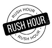 Rush Hour rubber stamp. Grunge design with dust scratches. Effects can be easily removed for a clean, crisp look. Color is easily changed Royalty Free Stock Image
