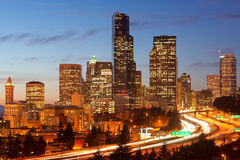 Rush Hour Seattle I-5 Highway Buildings Travel USA Royalty Free Stock Photo