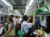 Rush Hour in Seoul. Rush hour on the subway in Seoul, South Korea Stock Image