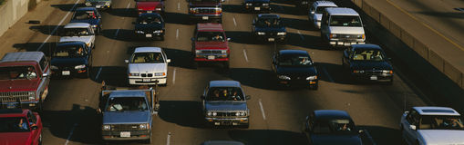 Rush hour traffic. On Los Angeles freeway Royalty Free Stock Photography