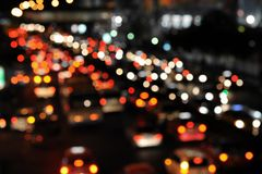 Rush Hour Traffic. Defocused Lights of Evening Rush Hour Traffic on a Busy Road Stock Photos