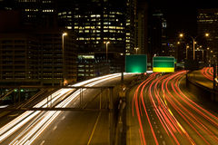 Rush hour traffic. A time exposure shot of rush hour traffic at downtown Seattle Royalty Free Stock Photos