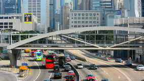 Rush hour traffic at admiralty, hong kong stock video footage