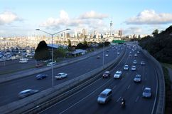Rush hour traffic in Auckland New Zealand. Landscape view of rush hour traffic in Auckland central business district New Zealand Stock Images