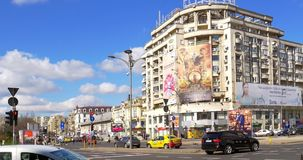 Rush Hour Traffic And Busy People In Union Square (Piata Unirii) Downtown Of Bucharest City. BUCHAREST, ROMANIA - MARCH 08, 2016: Rush Hour Traffic And Busy stock video