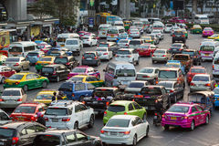 Rush hour of traffic circle near the Victory Monument BTS Station Stock Image