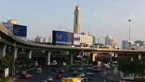 Rush hour of traffic circle near the Victory Monument BTS Station. stock footage