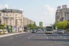 Rush Hour Traffic In Downtown Bucharest City Stock Images