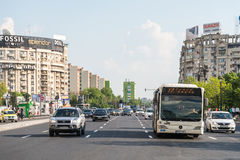 Rush Hour Traffic In Downtown Bucharest City Stock Photos