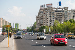 Rush Hour Traffic In Downtown Bucharest City Stock Photo