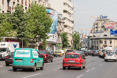 Rush Hour Traffic In Downtown Roman Square Stock Image