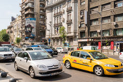 Rush Hour Traffic In Downtown Roman Square Royalty Free Stock Images