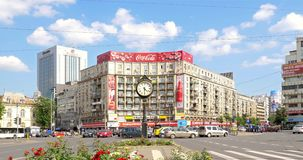 Rush Hour Traffic In Downtown Roman Square (Piata Romana) Of Bucharest City stock footage