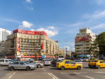Rush Hour Traffic In Downtown Roman Square (Piata Romana) Of Bucharest Stock Images