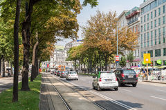 Rush Hour Traffic On Downtown Streets Of Vienna City Royalty Free Stock Photography