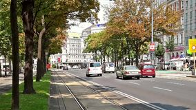 Rush Hour Traffic On Downtown Streets Of Vienna City. VIENNA, AUSTRIA - AUGUST 06, 2015: Rush Hour Traffic On Downtown Streets Of Vienna City stock video footage