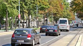 Rush Hour Traffic On Downtown Streets Of Vienna City. VIENNA, AUSTRIA - AUGUST 06, 2015: Rush Hour Traffic On Downtown Streets Of Vienna City stock footage