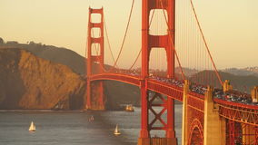 Rush Hour Traffic Flows Golden Gate Bridge Sunset Transit stock video footage
