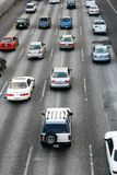 Rush hour traffic on freeway near Seattle. Close-up of rush hour traffic on freeway near Seattle with lanes and road details royalty free stock photography