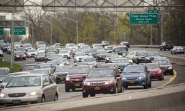 Rush hour traffic on the Grand Central Parkway in New York City. Rush hour traffic on the east bound side of Grand Central Parkway in Queens, New York City Stock Photos