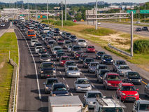 Rush hour traffic. On Highway 15, Laval, Quebec Stock Images